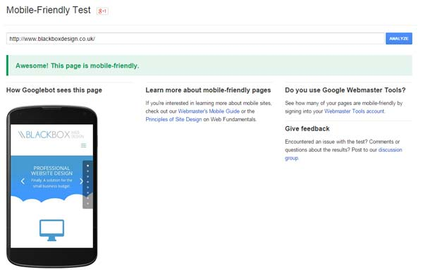 Google's Mobile Friendly Test Tool result page for a mobile optimised site