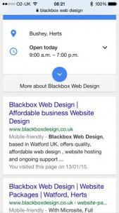 Mobile search results showing 'mobile friendly' tag