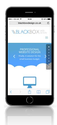 Mobile optimised website shown on smartphone