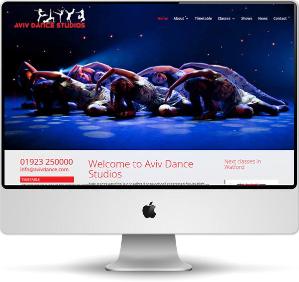 Aviv Dance Studios website screenshot