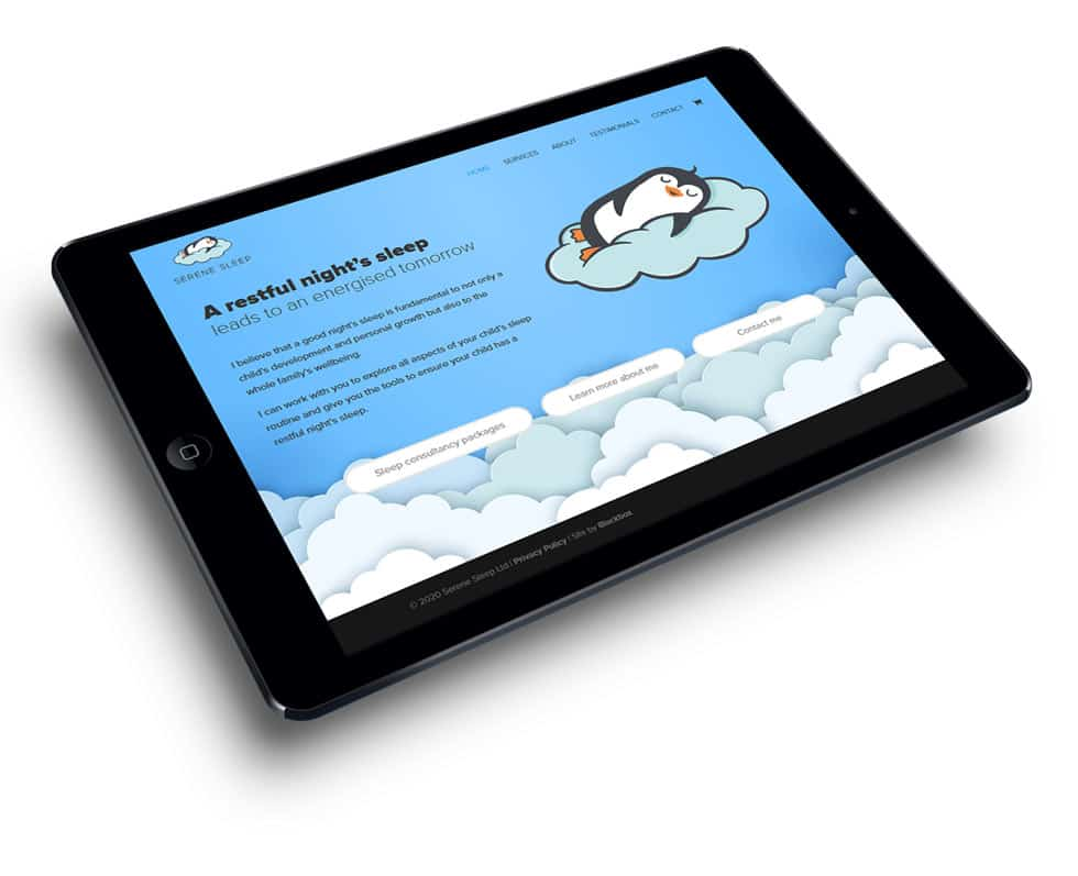a tablet device showing the homepage of the Serene Sleep website